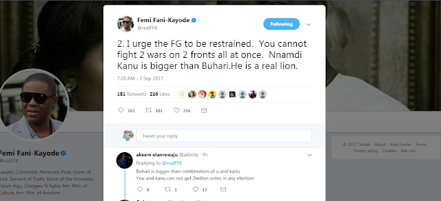 NNAMDI KANU IS BIGGER THAN BUHARI – FANI KAYODE