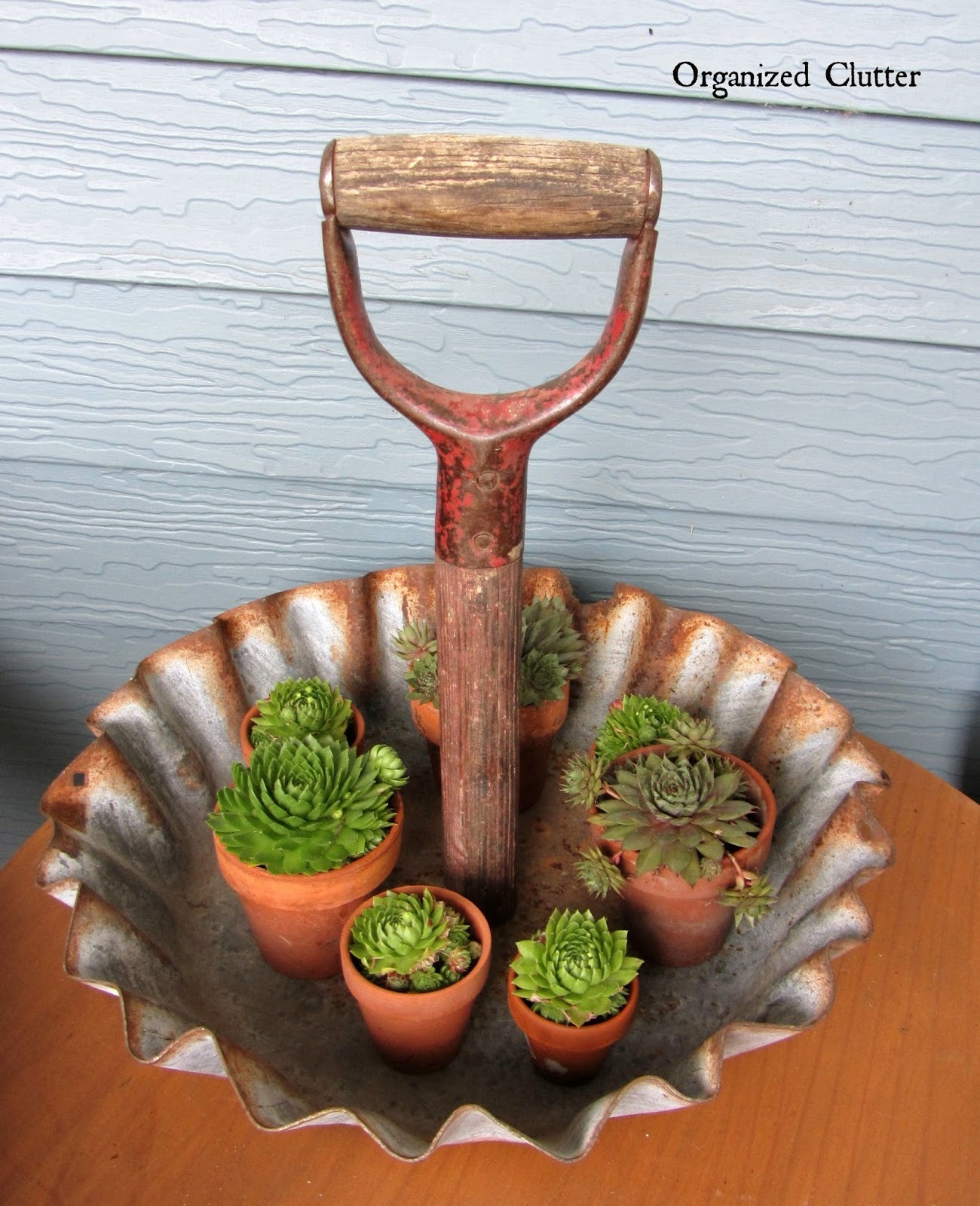 Shovel Handle Display Tray www.organizedclutterqueen.blogspot.com