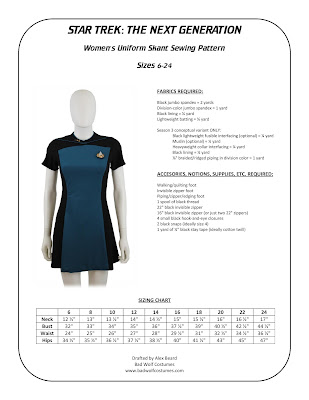 Star Trek TNG women's skant sewing pattern