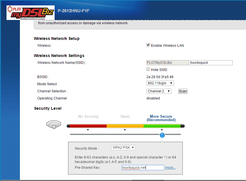 How to Enable and Disable WiFi On PLDT myDSL P-2612HNU-F1F Modem