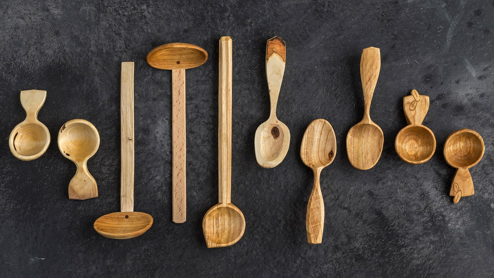 Wood carved spoons by Will Priestley