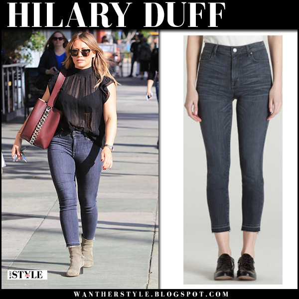 Hilary Duff in grey skinny jeans parker smith bombshell, sheer black top with burgundy bag givenchy infinity november 17 2017 street style