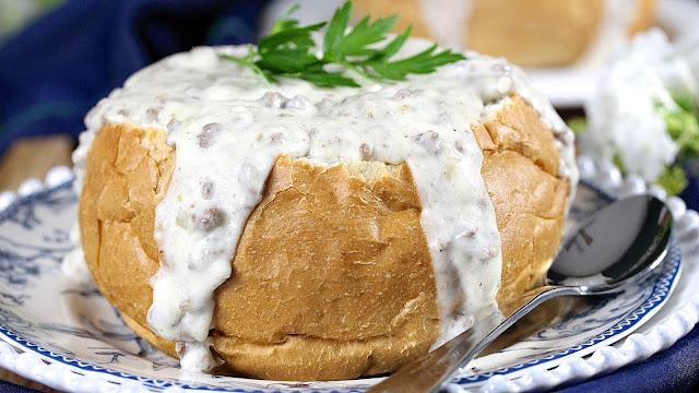 Creamed Hamburger Bread Bowl