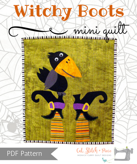 Witch Boots  and Black Crow Halloween Mini Quilt