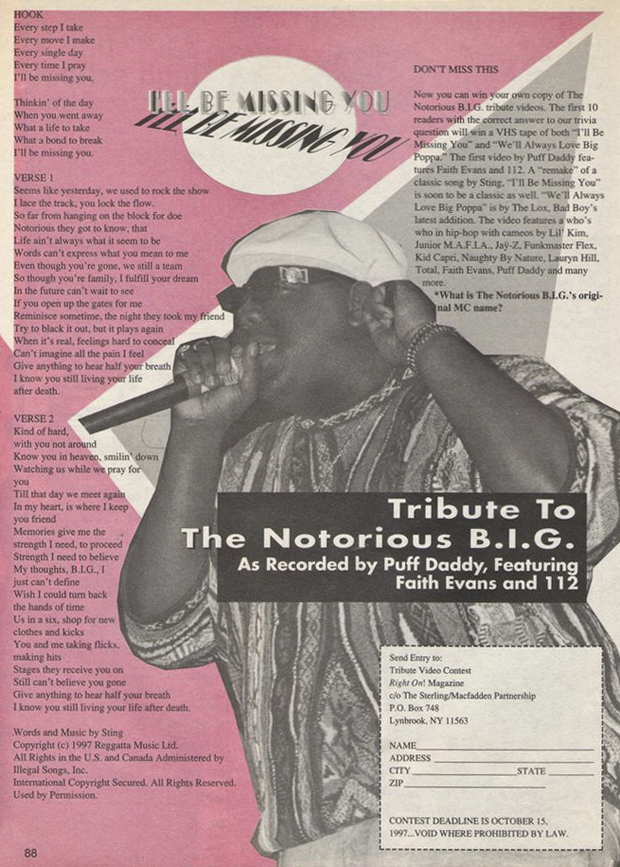 The Notorious B.I.G. Biggie Smalls I'll be Missing You Right On! Magazine Contest