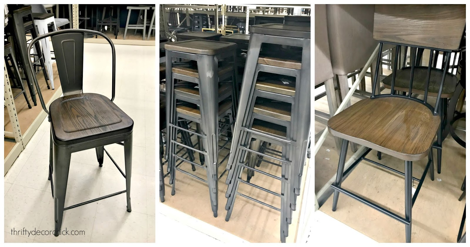 Inexpensive wood and metal counter stools