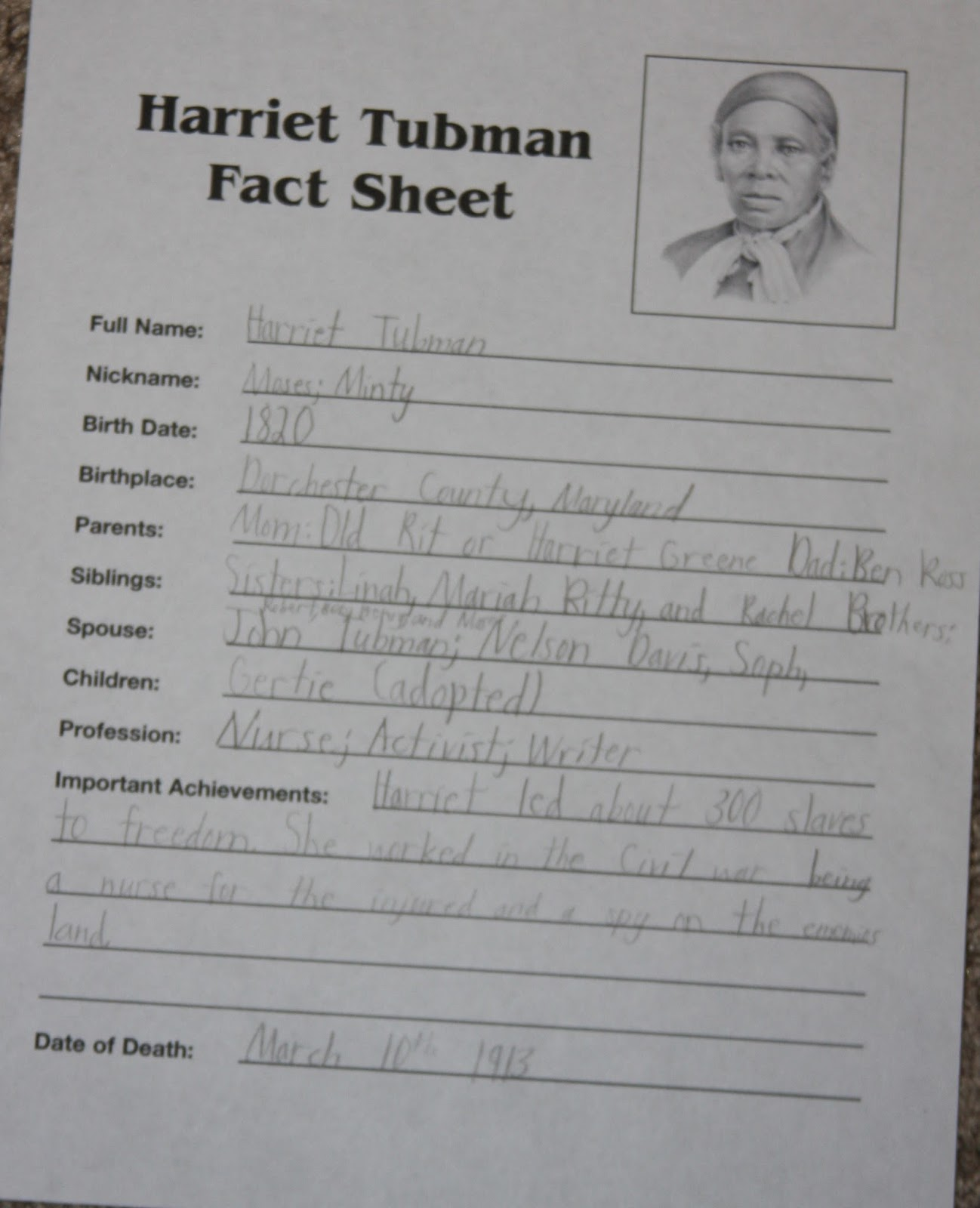 Harriet tubman essay thesis