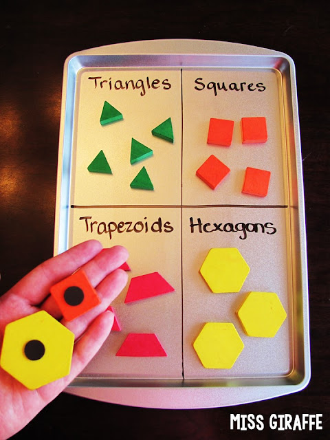 Use a dry erase marker and magnets to create so many different math sorts on a dollar store magnetic cookie sheet - lots of great math ideas if you click the picture!