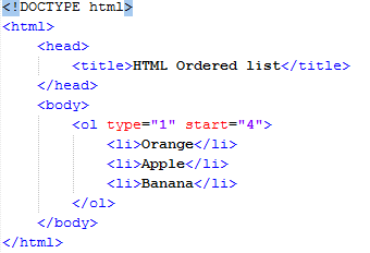 HTML start Attribute