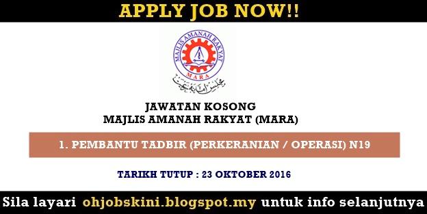 Iklan jawatan kosong kerajaan terkini Majlis Amanah Rakyat (MARA)