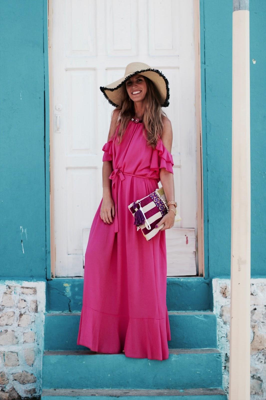 vestido rosa largo