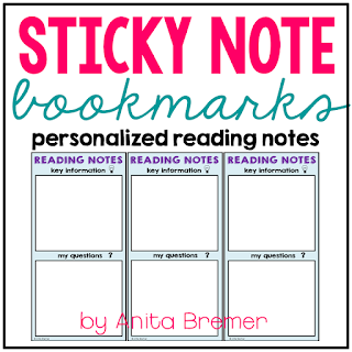 Sticky Note Bookmarks- reusable bookmarks where students use sticky notes to record their thinking!