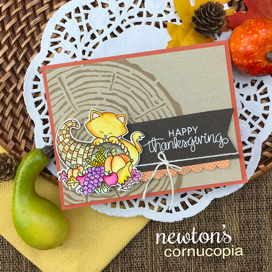 Thanksgiving cat cards by Jennifer Jackson | Newton's Cornucopia Stamp Set and Tree Ring Stencil by Newton's Nook Designs #newtonsnook #handmade