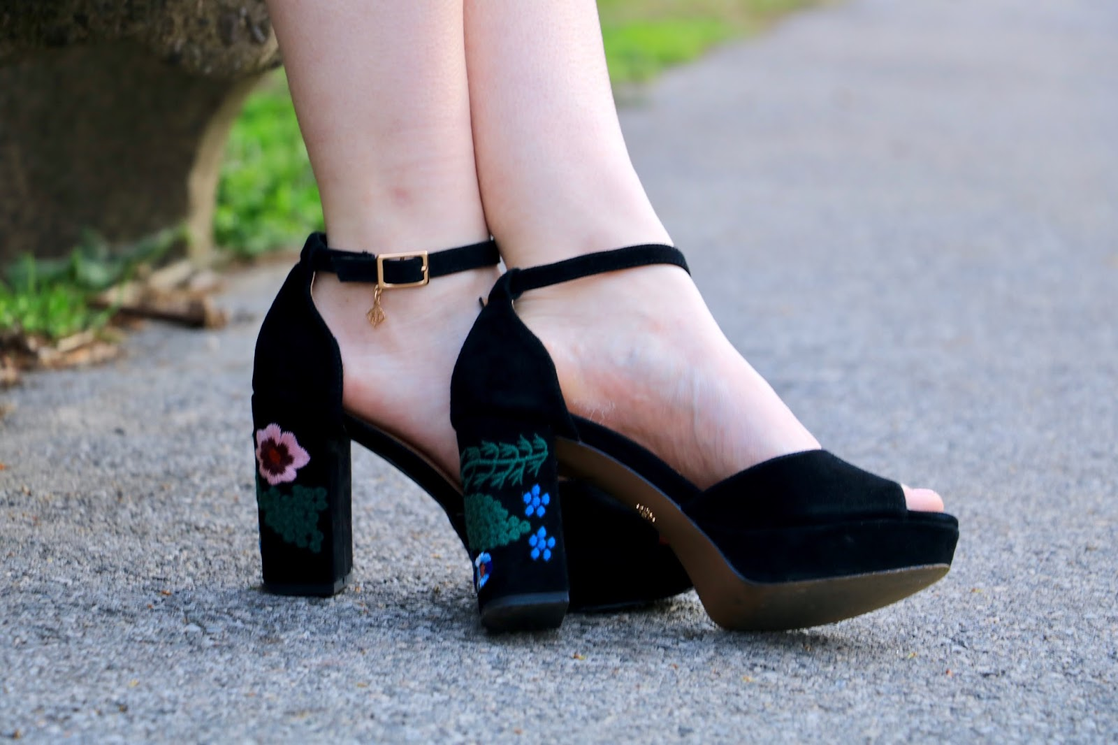 Nyc fashion blogger Kathleen Harper wearing black embellished platform heels