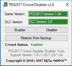 PES 2017 Crowd Disabler Tool V2.6 dari MJTS-140914