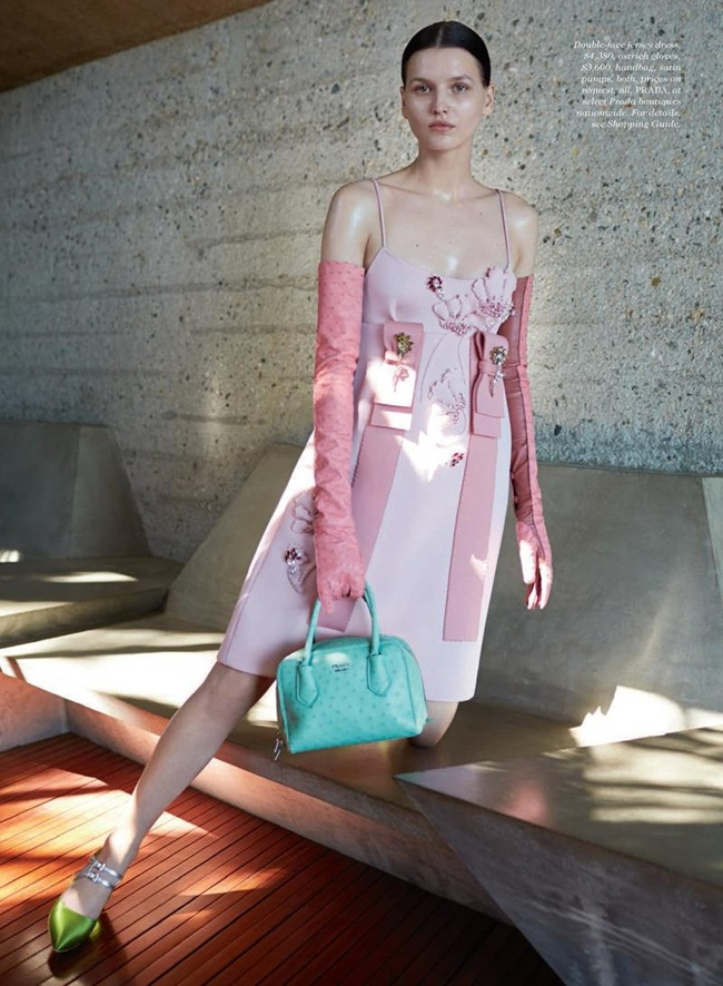 Prada 2015 AW Little Pink Embellished Jersey Gazarre Empire-Waist Dress Editorials