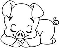 Tranh tô màu con lợn đang ngủ