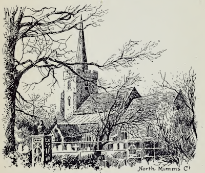 Screen grab of a sketch of St Mary's church, North Mymms, probably drawn by Bernard Alfieri in the early 1890s