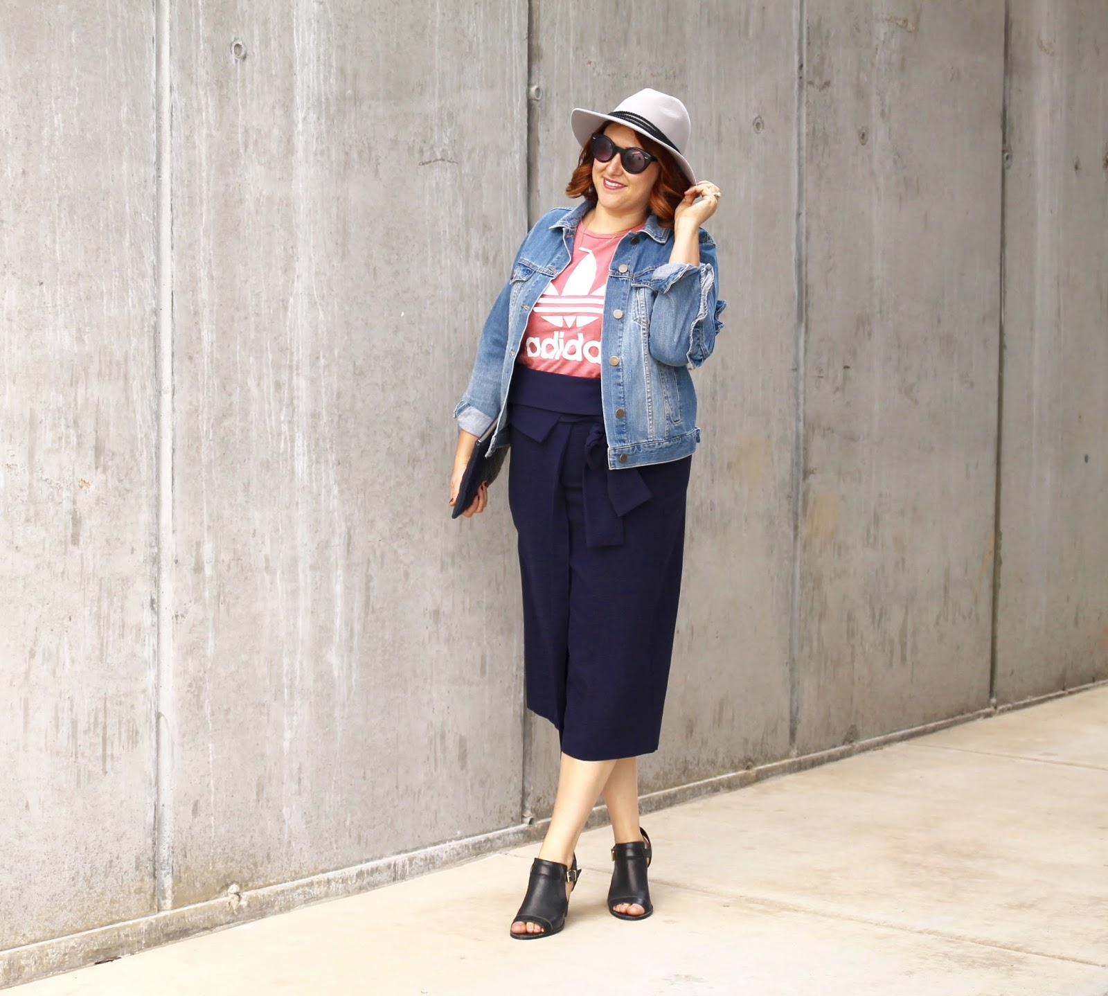 Cole Haan shoes, Pencil skirt, Adidas Tank, red hair, ruffle denim jacket