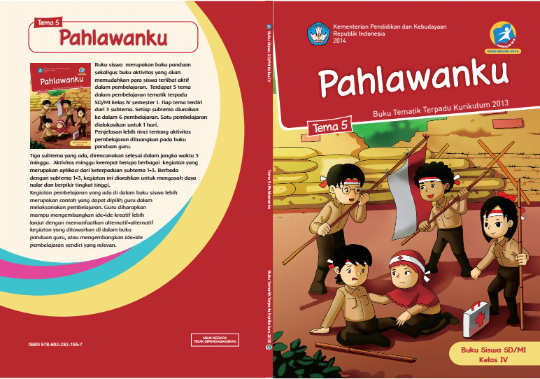 Download Buku Tematik Kurikulum 2013 SD/MI Kelas 4 Tema 5 Pahlawanku Edisi Revisi Format PDF