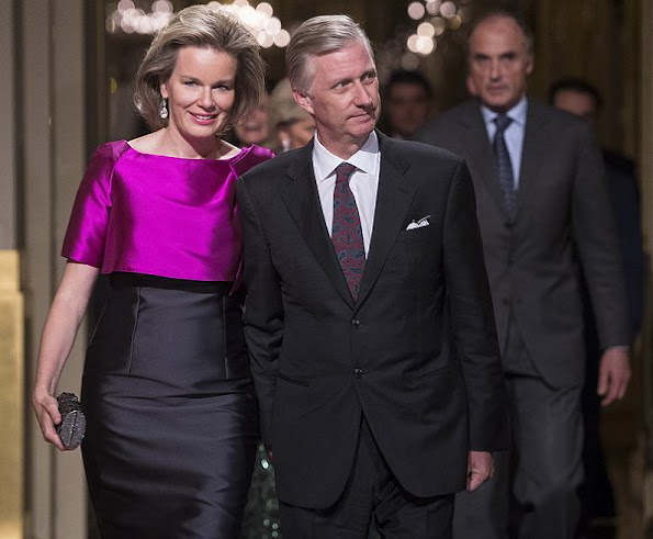 Queen Mathilde and King Philippe, Prince Lorenz and Princes Astrid of Belgium at Autumn Concert 2016 Queen Mathilde wore Natan dress Prada clutch bag