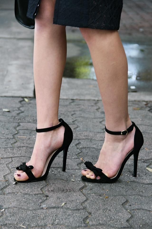 lulus babette vegan suede black bow heels ankle strap