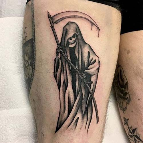 grim reaper tattoos on thigh azrail dövmeleri