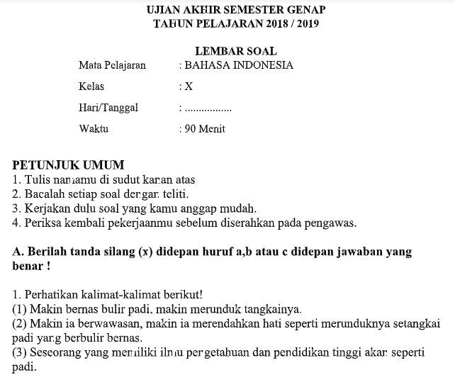 Contoh Soal UAS Bahasa Indonesia Kls X SMA Semester 2 ...
