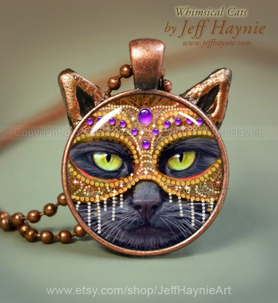 21-Black-Cat-Mask-Pendant-Jeff-Haynie-Cats in Drawings-Paintings-and-Jewelry-www-designstack-co
