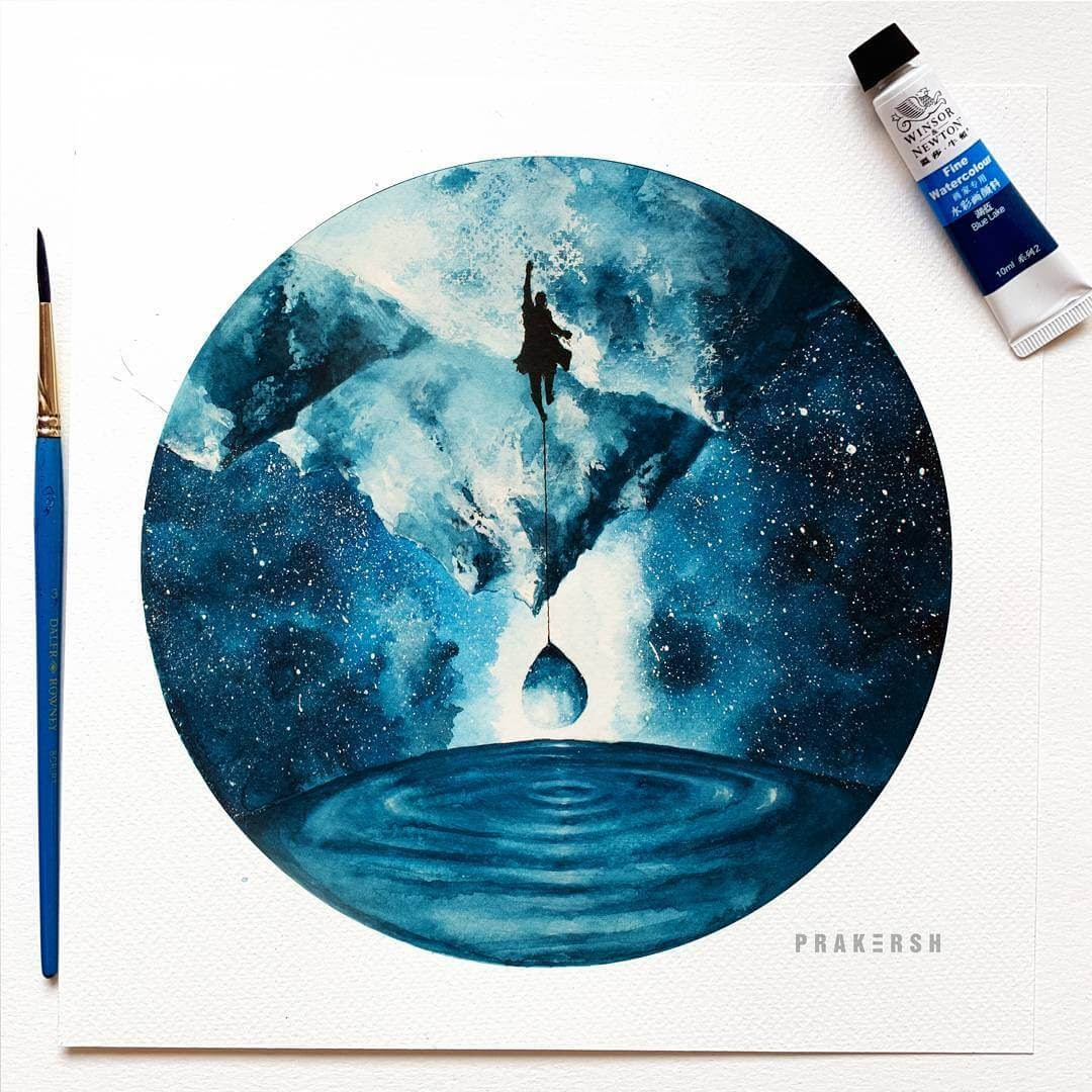 10-Waking-Up-11-Never-Prakersh-Blue-and-Round-Fantasy-Watercolor-Paintings-www-designstack-co