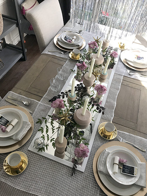 For the table settings I used an unexpected item - a shower curtain clip that I spray-painted gold - to hold a rolled sheet of paper. & The Happy Homebodies: New Yearu0027s Day Brunch Decor (Word of the Year)