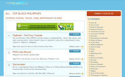 Screenshot of Top Blogs Philippines