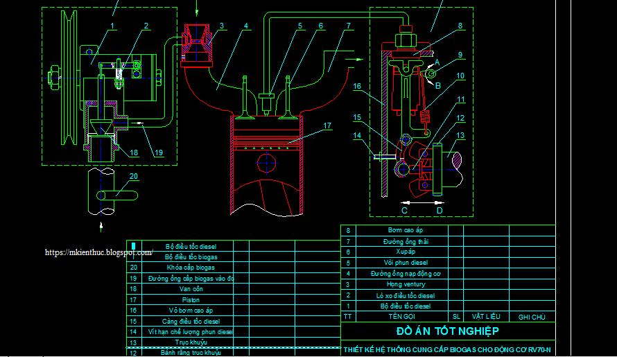 Bản vẽ thiết kế hệ thống cung cấp nhiên liệu biogas cho động cơ RV70-N