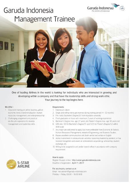Lowongan Kerja Garuda Indonesia Management Trainee Maret 2017 (Fresh Graduate/ Experience)