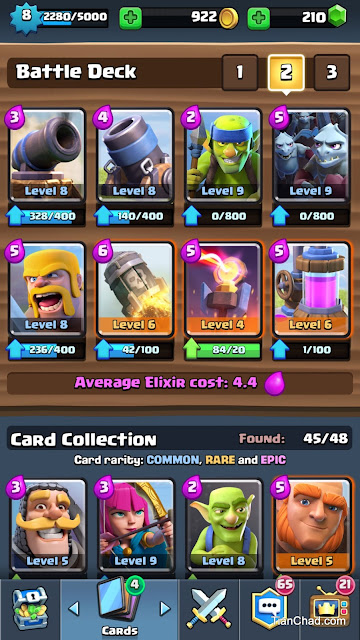 Best Battle Deck for Arena 6/Arena 7 - Battle Deck 2 (Defend and Remote Attack)