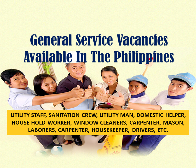Are you looking for a general services job in the Philippines? The following are job vacancies for you. If interested, you may contact the employer/ agency listed below to inquire further or to apply.   JOB VACANCY  1. DRIVER Vacancy Number: 5 Company Name: Filhome Builders Center, Inc. Work Experience: 1 year/s Salary: P13,000 - P15,000 Jobs For: Women, Highschool Graduates, Balikbayans/OFW Returnees Office Address: FBC BLDG. 2nd Flr. No.68 Doña Soledad Ave. Better Living, Don Bosco, CITY OF PARAÑAQUE, NCR. FOURTH DISTRICT (Not a Province), NATIONAL CAPITAL REGION (NCR)  2. TRAILER TRUCK DRIVER Vacancy Number : 2 Company Name: MD Express Manila, Inc. Work Experience: 2 years/s Salary: P1 - P100 Jobs For: Balikbayans/OFW Returnees Office Address: CITY OF MANILA, NCR. FIRST DISTRICT (Not a Province), NATIONAL CAPITAL REGION (NCR)  3. DRIVER Vacancy Number : 3 Company Name: GREEN ERA BIO-TECH CORP. Work Experience: 6 years/s Salary: P12,000 - P13,000 Jobs For: Highschool Graduates Office Address: Greenhills, CITY OF SAN JUAN, NCR. SECOND DISTRICT (Not a Province), NATIONAL CAPITAL REGION (NCR)  4. PRIME MOVER DRIVER Vacancy Number: 2 Company Name: Betina Trucking Services, Inc. Work Experience: 4 years/s and 4 months/s Salary: P8,788 - P30,000 Jobs For: Highschool Graduates Office Address: national high way, Tablon, CAGAYAN DE ORO CITY (Capital), MISAMIS ORIENTAL, REGION X (NORTHERN MINDANAO)  5. DELIVERY RIDER Vacancy Number: 20 Company Name: Maximum Solutions Corporation Work Experience: 1 year/s Salary: P12,000 - P13,000 Jobs For: Women Office Address: 4F Accelerando Bldg. Sen Gil Puyat Ave Makati City, Bel-Air, CITY OF MAKATI, NCR. FOURTH DISTRICT (Not a Province), NATIONAL CAPITAL REGION (NCR)  6. UTILITY STAFF Vacancy Number: 2 Company Name: Pines International Academy, Inc. Work Experience: 1 year/s Salary: P285 - P285 Jobs For: Women, Highschool Graduates Office Address: San Luis Village, BAGUIO CITY, BENGUET, CORDILLERA ADMINISTRATIVE REGION (CAR)  7. DUMP TRUCK OPERATORS Vacancy Number: 66 Company Name: CARMEN COPPER CORPORATION Work Experience: 1 year/s Jobs For: Women, Highschool Graduates Office Address: Carmen Copper Compound, Don Andres Soriano (Lutopan), TOLEDO CITY, CEBU, REGION VII (CENTRAL VISAYAS)  8. SUPPORT STAFF/DRIVER Vacancy Number: 4 Company Name: SUNSHINE SUPERMART, INC. Work Experience: 1 year/s and 1 month/s Salary: P7,400 - P8,000 Jobs For: Highschool Graduates Office Address:  BAGUIO CITY, BAGUIO CITY, BENGUET, CORDILLERA ADMINISTRATIVE REGION (CAR)  9. FAMILY DRIVER Vacancy Number: 5 Company Name: JEDI PLACEMENT AGENCY, INC. Work Experience: 1 year/s Salary: P400 - P400 Jobs For: Highschool Graduates Office Address: Unit 101 Agapita Condo 1832 Leon Guinto St, Malate, Manila, Barangay 693, CITY OF MANILA, NCR. FIRST DISTRICT (Not a Province), NATIONAL CAPITAL REGION (NCR)  10. BABY SITTER Vacancy Number: 5 Company Name: JEDI PLACEMENT AGENCY, INC. Work Experience: 1 year/s Salary: P400 - P400 Jobs For: Women, Highschool Graduates Office Address: Unit 101 Agapita Condo 1832 Leon Guinto St, Malate, Manila, Barangay 693, CITY OF MANILA, NCR. FIRST DISTRICT (Not a Province), NATIONAL CAPITAL REGION (NCR) 11. HOUSEMAID Vacancy Number: 45 Company Name: JEDI PLACEMENT AGENCY, INC. Work Experience: 1 year/s Salary: P400 - P400 Jobs For: Women, Highschool Graduates Office Address: Unit 101 Agapita Condo 1832 Leon Guinto St, Malate, Manila, Barangay 693, CITY OF MANILA, NCR. FIRST DISTRICT (Not a Province), NATIONAL CAPITAL REGION (NCR)  12. DOMESTIC HELPER Vacancy Number: 60 Company Name: BS INTERNATIONAL SERVICES & PLACEMENT AGENCY INC. Salary: P400 - P400 Jobs For: Women, Highschool Graduates Balikbayans/OFW Returnees Office Address: 1963 F AGONCILLO ST. MALATE MANILA,CITY OF MANILA, NCR. FIRST DISTRICT (Not a Province), NATIONAL CAPITAL REGION (NCR)  13. HOUSEKEEPING PERSONNEL Vacancy Number: 10 Company Name: GAISANO INCORPORATED Salary: P9,000 - P10,000 Jobs For: Women Office Address: 50, COLON ST. CEBU CITY, CEBU CITY (Capital), CEBU CITY (Capital), CEBU, REGION VII (CENTRAL VISAYAS)  14. COMPANY DRIVER –URGENT Vacancy Number: 3 Company Name: DAVAO BETA SPRING, INC. Work Experience: 1 year/s and 4 months/s Salary: P884,000 - P100,000 Jobs For: Highschool Graduates Office Address: KM. 14, Panacan, DAVAO CITY, DAVAO DEL SUR, REGION XI (DAVAO REGION)  15. SANITATION CREW Vacancy Number: 10 Company Name: Eagle Star Industrial Sales Corporation Work Experience: 6 month/s Salary: P9,000 - P10,000 Jobs For: Highschool Graduates Office Address:  CITY OF SAN FERNANDO (Capital), CITY OF SAN FERNANDO (Capital), PAMPANGA, REGION III (CENTRAL LUZON)  16. UTILITY MAN Vacancy Number: 10 Company Name: GAISANO CAPITAL-DANAO Salary: P9,000 - P10,000 Jobs For: Women, Highschool Graduates, Balikbayans/OFW Returnees Office Address: SOGOD, SOGOD, CEBU, REGION VII (CENTRAL VISAYAS)  17. DELIVERY TRUCK DRIVER Vacancy Number: 5 Company Name: Crown Asia Chemicals Corporation Work Experience: 3 years/s and 12 months/s Salary: P9,000 - P10,000 Jobs For: Highschool Graduates Office Address: Tuktukan, GUIGUINTO, BULACAN, REGION III (CENTRAL LUZON)  18. DELIVERY DRIVER Vacancy Number: 30 Company Name: Columbia Technologies, Inc. Work Experience: 2 years/s and 2 months/s Salary: P12,000 - P20,000 Jobs For: Highschool Graduates Office Address: 1136-1146, Barangay 689, CITY OF MANILA, NCR. FIRST DISTRICT (Not a Province), NATIONAL CAPITAL REGION (NCR)  19. DRIVER Vacancy Number: 2 Company Name: GREATBEV INC. Work Experience: 1 year/s Salary: P7,800 - P8,000 Jobs For: Highschool Graduates, Balikbayans/OFW Returnees Office Address: 06 AMPARO HEIGHTS, Camp 7, BAGUIO CITY, BENGUET, CORDILLERA ADMINISTRATIVE REGION (CAR)  20. DOMESTIC HELPER Vacancy Number: 90 Company Name: KEY'S PLACEMENT INC. Work Experience: 1 year/s and 1 month/s Salary: P400 - P400 Jobs For: Women Office Address: 3F SOLEMIL BLDG., 1248 J. BOCOBO ST., ERMITA, Barangay 670, CITY OF MANILA, NCR. FIRST DISTRICT (Not a Province), NATIONAL CAPITAL REGION (NCR)  21. HOUSE HOLD WORKER Vacancy Number: 50 Company Name: KEY'S PLACEMENT INC. Work Experience: 1 year/s and 1 month/s Salary: P400 - P400 Jobs For: Women Office Address: 3F SOLEMIL BLDG., 1248 J. BOCOBO ST., ERMITA, Barangay 670, CITY OF MANILA, NCR. FIRST DISTRICT (Not a Province), NATIONAL CAPITAL REGION (NCR)  22. COMPANY DRIVER Vacancy Number : 4 Company Name: Servicio Filipino, Inc. Work Experience: 1 year/s and 2 months/s Salary: P12,000 - P15,000 Jobs For: Highschool Graduates, Balikbayans/OFW Returnees Office Address: 105 West Ave. Quezon City, Bungad, QUEZON CITY, NCR. SECOND DISTRICT (Not a Province), NATIONAL CAPITAL REGION (NCR)  23. COMPANY DRIVER Vacancy Number : 2 Company Name: JS Gaisano Work Experience: 2 year/s and 1 month/s Salary: P340 - P340 Jobs For: Balikbayans/OFW Returnees Office Address: Quirante II, , CITY OF TAGUM (Capital), DAVAO DEL NORTE, REGION XI (DAVAO REGION)  24. WINDOW CLEANERS Vacancy Number: 30 Company Name: AMAZIGRACE MANPOWER SERVICES Work Experience: 1 year/s Salary: P12,000 - P12,766 Jobs For: Women, Highschool Graduates Office Address: 779 DR.GARCIA ST., Sumilang, CITY OF PASIG, NCR. SECOND DISTRICT (Not a Province), NATIONAL CAPITAL REGION (NCR)  25. DRIVER Vacancy Number : 2 Company Name: PHILCOPY Corporation Work Experience: 1 year/s Salary: P14,630 - P15,000 Jobs For: Highschool Graduates Office Address:  Poblacion, CITY OF MAKATI, NCR. FOURTH DISTRICT (Not a Province), NATIONAL CAPITAL REGION (NCR)  26. CARPENTER Vacancy Number: 5 Company Name: ESP DESIGN, CONSTRUCTION AND SUPPLY Jobs For: Highschool Graduates Office Address: 0347 A&P Bldg., Jose E. Go Street, Dampas District, Tagbilaran City, Bohol, Philippines, Dampas, TAGBILARAN CITY (Capital), BOHOL, REGION VII (CENTRAL VISAYAS)  27 .MASON Vacancy Number : 8 Company Name: ESP DESIGN, CONSTRUCTION AND SUPPLY Jobs For: Highschool Graduates Office Address: 0347 A&P Bldg., Jose E. Go Street, Dampas District, Tagbilaran City, Bohol, Philippines, Dampas, TAGBILARAN CITY (Capital), BOHOL, REGION VII (CENTRAL VISAYAS)  28. LABORERS Vacancy Number : 10 Company Name: ESP DESIGN, CONSTRUCTION AND SUPPLY Jobs For: Highschool Graduates Office Address: Dampas, TAGBILARAN CITY (Capital), BOHOL, REGION VII (CENTRAL VISAYAS)  29. DRIVER Vacancy Number : 5 Company Name: Servicio Filipino, Inc. Work Experience: 1 year/s Salary: P12,546 - P15,000 Jobs For: Highschool Graduates Office Address: 105 West Ave. Quezon City, Bungad, QUEZON CITY, NCR. SECOND DISTRICT (Not a Province), NATIONAL CAPITAL REGION (NCR)  30. DRIVER Vacancy Number: 3 Company Name: Ramgo International Corp Work Experience: 1 year/s and 6 months/s Salary: P11,000 - P12,000 Jobs For: Highschool Graduates Office Address: 540 RGC Compound Jenny's Avenue, Maybunga, CITY OF PASIG, NCR. SECOND DISTRICT (Not a Province), NATIONAL CAPITAL REGION (NCR)  31. MASON CARPENTRY Vacancy Number: 1 Company Name: ADJ Happy Travel Inc. Work Experience: 2 years/s Salary: P200 - P300 Jobs For: Highschool Graduates Office Address: REGION VI (WESTERN VISAYAS)  32. DRIVERS Vacancy Number: 20 Company Name: Sunrise Search & Support Inc. Work Experience: 6 years/s and 1 month/s Salary: P491 - P12,000 Jobs For:  Highschool Graduates, Displaced Workers(Local) Office Address: NATIONAL CAPITAL REGION (NCR)  33. TRUCK DRIVER Vacancy Number: 10 Company Name: Manly Plastics, Inc. Work Experience: 1 year/s Jobs For: Highschool Graduates, Displaced Workers(Local), Balikbayans/OFW Returnees Office Address: 404 M. H. Del Pilar, Maysilo, CITY OF MALABON, NCR. THIRD DISTRICT (Not a Province), NATIONAL CAPITAL REGION (NCR)  34. DELIVERY DRIVER FOR DAVAO Vacancy Number: 2 Company Name: Manly Plastics, Inc. Work Experience: 1 year/s Jobs For: Highschool Graduates, Displaced Workers(Local), Balikbayans/OFW Returnees Office Address: 404 M. H. Del Pilar, Maysilo, CITY OF MALABON, NCR. THIRD DISTRICT (Not a Province), NATIONAL CAPITAL REGION (NCR)  35. PERSONAL DRIVER Vacancy Number: 3 Company Name: Manly Plastics, Inc. Work Experience: 2 years/s Jobs For: Highschool Graduates, Displaced Workers(Local), Balikbayans/OFW Returnees Office Address: 404 M. H. Del Pilar, Maysilo, CITY OF MALABON, NCR. THIRD DISTRICT (Not a Province), NATIONAL CAPITAL REGION (NCR)  36. DRIVER Vacancy Number: 2 Company Name: Eagle Star Industrial Sales Corporation Work Experience: 2 years/s Salary: P12,500 - P13,500 Jobs For: Highschool Graduates Office Address: 888 Amang Rodrigues Ave. Santolan Pasig, Santolan, CITY OF PASIG, NCR. SECOND DISTRICT (Not a Province), NATIONAL CAPITAL REGION (NCR)  37. PERSONAL HOUSEKEEPER Vacancy Number: 2 Company Name: Ecell Philippines Inc. Work Experience: 1 year/s and 12 months/s Salary: P10,000 - P10,000 Jobs For: Highschool Graduates Office Address: ANGELES CITY, ANGELES CITY, PAMPANGA, REGION III (CENTRAL LUZON)  38. DRIVERS Vacancy Number: 10 Company Name: The French Baker, Inc. Work Experience: 1 year/s Salary: P12,000 - P15,000 Jobs For: Highschool Graduates, Balikbayans/OFW Returnees Office Address: 2nd Flr. Unit 6, #108 E. Rodriguez Jr. Avenue, Bagumbayan, QUEZON CITY, NCR. SECOND DISTRICT (Not a Province), NATIONAL CAPITAL REGION (NCR)  39. Professional Drivers Vacancy Number: 15 Company Name: CLC Work Experience: 3 years/s Salary: P12,000 - P20,000 Jobs For: Highschool Graduates, Balikbayans/OFW Returnees Office Address: Gorriceta Avenue Balabag Pavia Iloilo, Balabag, PAVIA, ILOILO, REGION VI (WESTERN VISAYAS)  40. DRIVER Vacancy Number: 10 Company Name: MERCHANDISE DISTRIBUTORS INC. Work Experience: 1 year/s and 2 months/s Salary: P9,000 - P9,500 Jobs For: Highschool Graduates, Balikbayans/OFW Returnees, Work Experience: 1 year/s and 2 months/s Office Address: 2108 M.F. Echivarre St., Mantuyong, MANDAUE CITY, CEBU, REGION VII (CENTRAL VISAYAS)  41. DELIVERY DRIVER Vacancy Number: 3 Company Name: Baker Bob & Kates Bakery Products, Inc. Work Experience: 1 year/s Salary: P9,516 - P10,000 Jobs For: Highschool Graduates Office Address:  MANDAUE CITY, MANDAUE CITY, CEBU, REGION VII (CENTRAL VISAYAS)  42. DELIVERY RIDER (COURIER) Vacancy Number: 70 Company Name: ZOOM CELERO COURIER INC. Salary: P12,600 - P15,000 Jobs For: Highschool Graduates, Displaced Workers(Local), Balikbayans/OFW Returnees Office Address: 301E TEXKONTRUCT BLDG. LUNA MENCIAS ST., Addition Hills, CITY OF SAN JUAN, NCR. SECOND DISTRICT (Not a Province), NATIONAL CAPITAL REGION (NCR)  43. HOUSEHOLD SERVICE WORKER Vacancy Number: 50 Company Name: iRekrut Manpower, Inc Salary: P400 - P400 Jobs For: Women, Highschool Graduates, Balikbayans/OFW Returnees Office Address: 1198 Casman Bldg., Quezon Ave., Paligsahan, QUEZON CITY, NCR. SECOND DISTRICT (Not a Province), NATIONAL CAPITAL REGION (NCR)  44. DRIVER Vacancy Number: 1 Company Name: National Commission for Culture and the Arts Work Experience: 3 years/s and 3 months/s Salary: P10,400 - P10,500 Jobs For: Balikbayans/OFW Returnees Office Address: 633 general luna street, Intramuros, Barangay 656, CITY OF MANILA, NCR. FIRST DISTRICT (Not a Province), NATIONAL CAPITAL REGION (NCR)  SOURCE: http://philjobnet.gov.ph/ DISCLAIMER: Thoughtskoto is not affiliated to any of these companies. The information gathered here is verified and gathered from the philjobnet website.  RELATED POSTS:  New Job Vacancies In Hotels And Restaurants In The Philippines Are you looking for a hotels and restaurants job in the Philippines? The following are job vacancies for you. If interested, you may contact the employer/ agency listed below to inquire further or to apply.   Jobs And Employment Opportunities In The Philippines Are you looking for a job in the Philippines? The following are job vacancies for you. If interested, you may contact the employer/ agency listed below to inquire further or to apply. Are you looking for a job in the Philippines? The following are job vacancies for you. If interested, you may contact the employer/ agency listed below to inquire further or to apply.  JOB VACANCIES  1. SERVICE MECHANIC Company: Kubota Philippines, Inc. Min 2 years (1-4 Yrs Experienced Employee) Philippines - National Capital Reg - Baesa, Quezon City Website: http://www.kubota.com.ph Telephone No.: 4223500 Address: 232 Quirino Highway, Baesa, Quezon City, Metro Manila, Philippines  2. AIRCON TECHNICIAN Company: Eagle Star Industrial Sales Corporation Salary: PHP 10,000 - PHP 14,000 Min 1 year (1-4 Yrs Experienced Employee) Telephone No.: 638-6048 Address: U 2702-D West Textite Tower PSEC, Exchange Rd, Ortigas Center, San Antonio, Pasig City  3. DRIVER MECHANIC Company: OHCOTECH Corporation Min 4 years (1-4 Yrs Experienced Employee) Philippines - National Capital Reg - Mandaluyong City - 525 Sierra Madre St, Bo Highway Hills, Mandaluyong Telephone No.: 02-5314904 Address: Epifanio de Los Santos Avenue, Mandaluyong City, Philippines  4. PEST CONTROL TECHNICIAN Company: Jardine Distribution Inc Salary: PHP 15,000 - PHP 16,000 Min 2 years (1-4 Yrs Experienced Employee) Philippines - National Capital Reg Website: http://www.jardinedistribution.com Telephone No.: 02-843-6011 Address: 2F Jardine Building, JM Compound, Faraday Corner Osmeña Highway  5. DRIVER MECHANIC Company: Lexis Sterling Gold Philippines, Inc. Salary: PHP 12,000 - PHP 16,000 Min 3 years (1-4 Yrs Experienced Employee) Philippines - National Capital Reg - Cainta, Rizal Address: 1 Clarion Cor., Baxter Ave., Brookside Hills, Cainta, Rizal  6. AIR CONDITIONING TECHNICIAN Company: Rustan Marketing Specialists, Inc. (RMSI) Salary: PHP 12,000 - PHP 13,000 Less than 1 year experience Philippines - National Capital Reg - Makati City Website: http://www.marksandspencer.com.ph/ Telephone No.: 896-0614 Address: GF Urban Bldg. 405 Gil Puyat Ave. Makati City  7. AIRCON TECHNICIAN Company: Cathay Land, Inc. Min 2 years (1-4 Yrs Experienced Employee) Philippines - Calabarzon & Mimaropa - Cavite - Inchican, Silang Address: 15th Floor Galleria Corporate Center EDSA corner Ortigas Avenue Quezon City - NC, PH  8. AUTOMOTIVE MECHANIC - CAR AIRCON TECHNICIAN Company: North Trend Marketing Corp Min 2 years (1-4 Yrs Experienced Employee) Philippines - National Capital Reg Telephone No.: 09177757056 Address: Unit 506 Venture Building, Market Street, Madrigal Business Park, Ayala, Alabang, Muntinlupa City  9. TECHNICIAN (AIRCON, REFRIGERATION, HVAC, O SMALL ENGINES) Company: Seacom, Inc. Salary: PHP 11,000 - PHP 15,000 Min 2 years (1-4 Yrs Experienced Employee) Philippines - National Capital Reg - Quezon City - Aurora Blvd. New Manila, Quezon City Website: http://www.seacominc.com.ph/ Telephone No.: 63-2-7222140 Address: 721 Aurora Boulevard, Quezon City, NCR, Philippines  10.SERVICE TECHNICIAN Company: CEBU ERNBRI IMPORT, INC. (Aquaventure Whitetip Dive Supply) Min 3 years (1-4 Yrs Experienced Employee) Philippines - National Capital Reg - Makati City Website: http://www.aquaventurewhitetip.com Telephone No.:708 9995 Address: Suite 103 Metropolitan Terraces Condominium Sacred Heart corner Kamagong Sts., San Antonio Village, Makati City 11. JUNIOR ELECTRONICS TECHNICIAN Company: IJK Logitech Marketing Inc. Salary: PHP 13,000 - PHP 16,900 Min 2 years (1-4 Yrs Experienced Employee) Philippines - National Capital Reg - Manila City - Binondo Address: Unit 1201 World Trade Exchange 215 Juan Luna St. Binondo, Manila   12. HVAC TECHNICIAN Company: Tosot Philippines Corporation Min 4 years (1-4 Yrs Experienced Employee) Philippines - National Capital Reg - Pasay City Address: 2162 F.B. Harrison Street, Pasay, Metro Manila, Philippines    13. ELECTRICIAN Company: Jocelyn Forge Incorporated Min 3 years (1-4 Yrs Experienced Employee) Philippines - Central Luzon - Meycauayan Bulacan Address: 56 ALTOVEROS ST. BARRIO BAGBAGUIN MEYCAUAYAN CITY BULACAN    14. AUTO DIESEL MECHANIC (QUEZON CITY) Company: Business Trends Philippines (A Kelly Services Company) (Recruitment Firm) Min 2 years (1-4 Yrs Experienced Employee) Philippines - National Capital Reg - Quezon City - ELJ Drive, Diliman, Quezon City Website: dmeusebio@businesstrendsph.com Telephone no.: 0917-874-9298 Address: Unit 1603 Jollibee Plaza, Emerald Avenue Ortigas Center Pasig City    15. MULTI-SKILLED TECHNICIAN (TAGUIG) Company: Business Trends Philippines (A Kelly Services Company) (Recruitment Firm) Min 2 years (1-4 Yrs Experienced Employee) Philippines - National Capital Reg - Taguig City - Upper Mckinley Website: dmeusebio@businesstrendsph.com Telephone no.: 0917-874-9298 Address: Unit 1603 Jollibee Plaza, Emerald Avenue Ortigas Center Pasig City    16. WATER MAINTENANCE STAFF Company: Welmanville Development Corporation Salary: PHP 8,000 - PHP 11,200 Less than 1-year experience Philippines - Calabarzon & Mimaropa - Quezon - Tayabas Website: http://www.welmanville.net Telephone No.: 4031292 Address: Unioil Bldg, Commerce Avenue Extension, Muntinlupa, NCR, Philippines    17. TRUCK MECHANIC Company: M.J. Teng Enterprises, Inc. Salary: PHP 15,000 - PHP 20,000 Less than 1-year experience Philippines - National Capital Reg - Quezon City Telephone No.: 4147587 Address: Garage is based at Barangay Ugong, Valenzuela City.    18. LANDSCAPE ELECTRICIAN Company: Okada Manila Min 2 years (1-4 Yrs Experienced Employee) Philippines - National Capital Reg Website:  http://www.okadamanila.com Telephone No.: (+632) 880 7500 Address: New Seaside Drive, Entertainment City, Parañaque City, 1701, Metro Manila, Philippines    19. LANDSCAPE PLUMBING TECHNICIAN Company: Okada Manila Min 2 years (1-4 Yrs Experienced Employee) Philippines - National Capital Reg Website: http://www.okadamanila.com Telephone No.: (+632) 880 7500 Address: New Seaside Drive, Entertainment City, Parañaque City, 1701, Metro Manila, Philippines    20. MASTER ELECTRICIAN Company: Coffel Aire Industries Incorporated Min 2 years (1-4 Yrs Experienced Employee) Philippines - National Capital Reg - Timog, Quezon City Telephone No.: 4262651 Address: 75 Scout Rallos, Sacred Heart, Quezon City    21. ELECTRICIAN Company :Jardine Energy Control Company Inc. Salary: PHP 13,000 - PHP 13,500 Min 2 years (1-4 Yrs Experienced Employee) Philippines - National Capital Reg - Taguig City Website: http://www.ph.jec.com Telephone No.: 843 6020 Address: JEC Philippines, G/F Jardine Bldg., JM Compound Faraday St., Barangay San Isidro cor Pres. Sen Osmena Street, Makati City     22. AUTO ELECTRICIAN Company: Socor Construction Corporation - Manila Min 1 year (1-4 Yrs Experienced Employee) Philippines - Calabarzon & Mimaropa - Rizal (others) - Taytay Website: http://socorconstruction.com Telephone No.: 639178109286 Address: Velasquez St., Bangiad Floodway, Barangay San Juan, Taytay, Rizal    23.MAINTENANCE STAFF (MASTER ELECTRICIAN) Company: Orthopaedic International, Inc. Salary: PHP 11,000 - PHP 15,000 Min 1 year (1-4 Yrs Experienced Employee) Philippines - Calabarzon & Mimaropa - Cabuyao, Laguna Address: 9 West Road, LISP1, Brgy. Diezmo, Cabuyao, Laguna    24. ELECTRONICS TECHNICIAN Company: Topserve Service Solutions, Inc. (Recruitment Firm) Salary: PHP 10,000 - PHP 12,000 Less than 1 year experience Philippines - Calabarzon & Mimaropa - Trece Martires Cavite Website: http://www.topservemanpower.com/ Telephone No.: +632 4030155 / +632 8224504 / +632 8465815 Address: Brgy Aguado Trece Martires Cavite    25. REGISTERED MASTER ELECTRICIAN Company: Do It Right Once (DIRO) Construction Solutions, Inc. Salary: PHP 14,400 - PHP 18,700 Min 5 years (1-4 Yrs Experienced Employee) Philippines - National Capital Reg Website: http://www.sohudesigns.com Telephone No.: 09209268086 Address: E.Rodriguez Sr. Ave., Corner Doña Heady Street, New Manila, Quezon City   26. MAINTENANCE STAFF Company: Hospitality Innovators Inc. Salary: PHP 13,000 - PHP 14,000 Min 2 years (1-4 Yrs Experienced Employee) Philippines - National Capital Reg Website: http://hii.com.ph Address: 5321 East Asia Drive, Filinvest, Alabang, Muntinlupa  27. ELECTRICIAN (FOR BACOLOD) Company: SEAOIL Philippines, Inc. Less than 1-year experience Philippines - Western Visayas - Negros Occidental (Bacolod) - BREDCO, Reclamation Area Website: http://www.seaoil.com.ph Address: Recruitment Office: 7th Floor, The Taipan Place, F. Ortigas Jr. Road, Ortigas Center, Pasig City  28. ELECTRICIAN Company: UNIVERSITY OF PERPETUAL HELP MEDICAL CENTER Min 1 year (Less than 1-year experience) Philippines - National Capital Reg - Las Pinas City - PAMPLONA TRES Website: http://www.uphmc.com.ph Telephone No.: 8748515 Address: Alabang-Zapote Rd., Las Piñas City, Philippines  29. TECHNICIAN Company: Poitier's Dolphin Haus Inc. Salary: PHP 15,000 - PHP 19,500 Min 3 years (Supervisor/5 Yrs & Up Experienced Employee) Philippines - Central Visayas - Cebu (Others) - Moalboal Website: http://www.philippines-cebu.com Address: White Beach, Saavedra, Moalboal Cebu  30. AIRCON AND REFRIGERATION TECHNICIAN Company: IFP Manufacturing Corporation Salary: PHP 13,000 - PHP 16,900 Min 2 years (1-4 Yrs Experienced Employee) Philippines - National Capital Reg - Caloocan City - Deparo, Caloocan City Telephone No.: 2 939 8726 Address : 261 Kabatuhan, Caloocan City, Metro Manila, Philippines  31. ELEVATOR TECHNICIAN - CUSTOMER ORIENTED Company: TRASFA INTERNATIONAL PTE, LTD Min 2 years (1-4 Yrs Experienced Employee) Philippines - National Capital Reg - Taguig City Website: http://www.trasfa-scl.com Telephone No.:  006329074734 Address: CS# 312 MC Home Depot, 32nd Street corner Bonifacio Boulevard, BGC, Taguig City   32. MECHANICAL SUPERVISOR  Company: Newton Electrical Equipment Co. Inc Salary: PHP 20,000 - PHP 30,000 Min 5 years (Supervisor/5 Yrs & Up Experienced Employee) Philippines - National Capital Reg - Brgy. Ugong Valenzuela City Telephone No.: (02) 983-7000 Address: Ugong, Lungsod ng Valenzuela, Pilipinas   33. FACILITIES TECHNICIAN  Company: Kinpo Electronics (Philippines), Inc. Less than 1-year experience Philippines - Calabarzon & Mimaropa Address: Block 7 Lot1, Main Boulevard, LIMA Technology Center, Lipa City, Batangas, Calabarzon, Philippines   34. ELECTRICIAN (METRO OPERATIONS SERVICES)  Company: Pepsi-Cola Products Philippines, Inc. Less than 1-year experience Philippines - National Capital Reg - Muntinlupa City - Tunasan, Muntinlupa Website: http://www.pepsiphilippines.com/ Telephone No.: 632 887 3774 Address: Pepsi Cola Philippines Inc., Tunasan, Muntinlupa City, Metro Manila, Philippines   35. ELECTRONIC TECHNICIAN  Company: Quaerito Qualitas Inc. (Q2 HR Solutions) (Recruitment Firm) Salary: PHP 27,000 - PHP 30,000 Min 2 years (1-4 Yrs Experienced Employee) Philippines - National Capital Reg - Lima Batangas Address: 12/F 88 Corporate Center, Makati, Metro Manila, Philippines   36. MASTER ELECTRICIAN  Company: Chesneyvale (Philippines) Inc. Salary: PHP 20,000 - PHP 30,000 Min 10 years (Supervisor/5 Yrs & Up Experienced Employee) Philippines - National Capital Reg - Makati City - Magallanes Website: http://www.chesneyvale.com Telephone No.: 02 808 0563 Address: L2 The Gateway Centre, Paseo de Magallanes, 2 San Gregorio St cor SLEX, Makati City   37. MAINTENANCE OFFICER  Company: Ace Pharmaceuticals, Inc. Min 4 years (1-4 Yrs Experienced Employee) Philippines - Central Luzon - Bulacan - Norzagaray Telephone No.:4272577 9513601 Address: Km 42.75 Brgy. Partida, Norzagaray, Bulacan   38. ELECTRICAL SUPERVISOR  Company: Virginia Food, Inc (VFI) Salary: PHP 23,000 - PHP 25,000 Min 2 years (Supervisor/5 Yrs & Up Experienced Employee) Philippines - Central Visayas - Cogon Compostela Cebu Telephone No.: 02 508 5852 Address: Cogon Compostela Cebu   39. ELECTRICIAN  Company: Kinetic Phils. Electrical Construction, Inc. Min 1 year (Assistant Manager/Manager) Philippines - National Capital Reg Website: http://www.kinetic.ph Telephone No.: 632 2365732 Address: 126 9th St. Grace Park East Caloocan City   40. ELECTROMECHANIC  Company: Jardine Energy Control Company Inc. Min 2 years (1-4 Yrs Experienced Employee) Philippines - National Capital Reg - Taguig City - Global City, Taguig Website:http://www.ph.jec.com Telephone No.: 843 6020 Address: JEC Philippines, G/F Jardine Bldg., JM Compound Faraday St., Barangay San Isidro cor Pres. Sen Osmena Street, Makati City  41. HATCHERY TECHNICIAN Company: Cobb-Vantress Philippines, Inc. Salary: PHP 11,000 - PHP 14,300 Min 1 year (1-4 Yrs Experienced Employee) Philippines - Calabarzon & Mimaropa - Rizal (others) - Tanay Rizal Website: http://www.cobb-vantress.com Telephone No.: 02-4542147 Address: 47 Congressional Avenue Extension, Quezon City, NCR, Philippines    42. TIRE TECHNICIAN Company: Advance Marketing Salary: PHP 13,000 - PHP 14,000 Min 1 year (1-4 Yrs Experienced Employee) Philippines - National Capital Reg - QUEZON CITY Website: http://www.apollotyres.com Telephone No.: (02 256-1481 Address: Barangay Tatalon, 540 Quezon Avenue, Quezon City, Metro Manila, Philippines   43. REEFER TECHNICIAN (BACOLOD) Company: 2GO Group Inc. Min 2 years (1-4 Yrs Experienced Employee) Philippines - Western Visayas - Negros Occidental (Bacolod) - Bacolod Website: http://www.2go.com.ph Address: 15F Times Plaza Building, U.N.Avenue cor Taft Avenue, Ermita, Manila   44. AUTOMOTIVE MECHANIC Company: Sunpride Foods, Inc. Min 1 year (1-4 Yrs Experienced Employee) Philippines - Central Visayas - Cebu (Cebu City) Telephone No.: 346-7805 - 09 Address: S. Jayme Street, Mandaue City, Central Visayas, Philippines   45. HEAVY EQUIPMENT SENIOR MECHANIC Company: Conequip Philippines Inc. Salary: PHP 10,000 - PHP 15,000 Min 3 years (1-4 Yrs Experienced Employee) Philippines - Central Visayas - Cebu (Others) Address: Kasambagan, 71 Juan Luna Avenue, Cebu City, Central Visayas, Philippines   46. ELEVATOR TECHNICIANS Company: CONCEPCION–OTIS Philippines, Inc. Salary: PHP 14,000 - PHP 17,000 Min 1 year (1-4 Yrs Experienced Employee) Philippines - National Capital Reg - Metro Manila Address: 14f Petron Megaplaza Bldg 358 Sen. Gil J. Puyat Avenue, Makati, Metro Manila, Philippines   47. AUTOMOTIVE MECHANIC FOR CARWORLD AND FORD SUBIC Company: Laus Group of Companies Less than 1-year experience Philippines - Central Luzon Telephone No.: 09188542964 Address: 4th f Corporate Guarantee and Insurance Company - HRMD Office, San Fernando, Central Luzon, Philippines   48. AUTO MECHANIC Company: Pitstop Motors (PSM) Inc. Salary: PHP 16,000 - PHP 20,800 Min 5 years (1-4 Yrs Experienced Employee) Philippines - National Capital Reg - Quezon City - QUEZON AVENUE Telephone No.: 3762133 3763467 Address: 1197 Quezon Avenue, Quezon City   49. AIRCON TECHNICIAN Company: Pitstop Motors (PSM) Inc. Salary: PHP 15,000 - PHP 19,500 Min 4 years (1-4 Yrs Experienced Employee) Philippines - National Capital Reg - Quezon City - QUEZON AVENUE Website: http://www.pitstopmotors.com.ph Telephone No.: 3762133 3763467 Address: 1197 Quezon Avenue, Quezon City   50. TRUCK MECHANIC Company: HAVI Logistics Phils, Inc. Min 3 years (1-4 Yrs Experienced Employee) Philippines - Calabarzon & Mimaropa - Cavite - Carmona Website: http://www.HAVI.com Telephone No.: 982-6700 Address: Carmona, Cavite  SOURCE: www.jobstreet.com.ph  DISCLAIMER: Thoughtskoto is not affiliated to any of these companies. The information gathered here is verified and gathered from the jobstreet website.  College Level, Vocational Graduate And High School Graduate Jobs Bound For Philippines Are you looking for a local job in the Philippines? The following are job vacancies for you. If interested, you may contact the employer/ agency listed below to inquire further or to apply.
