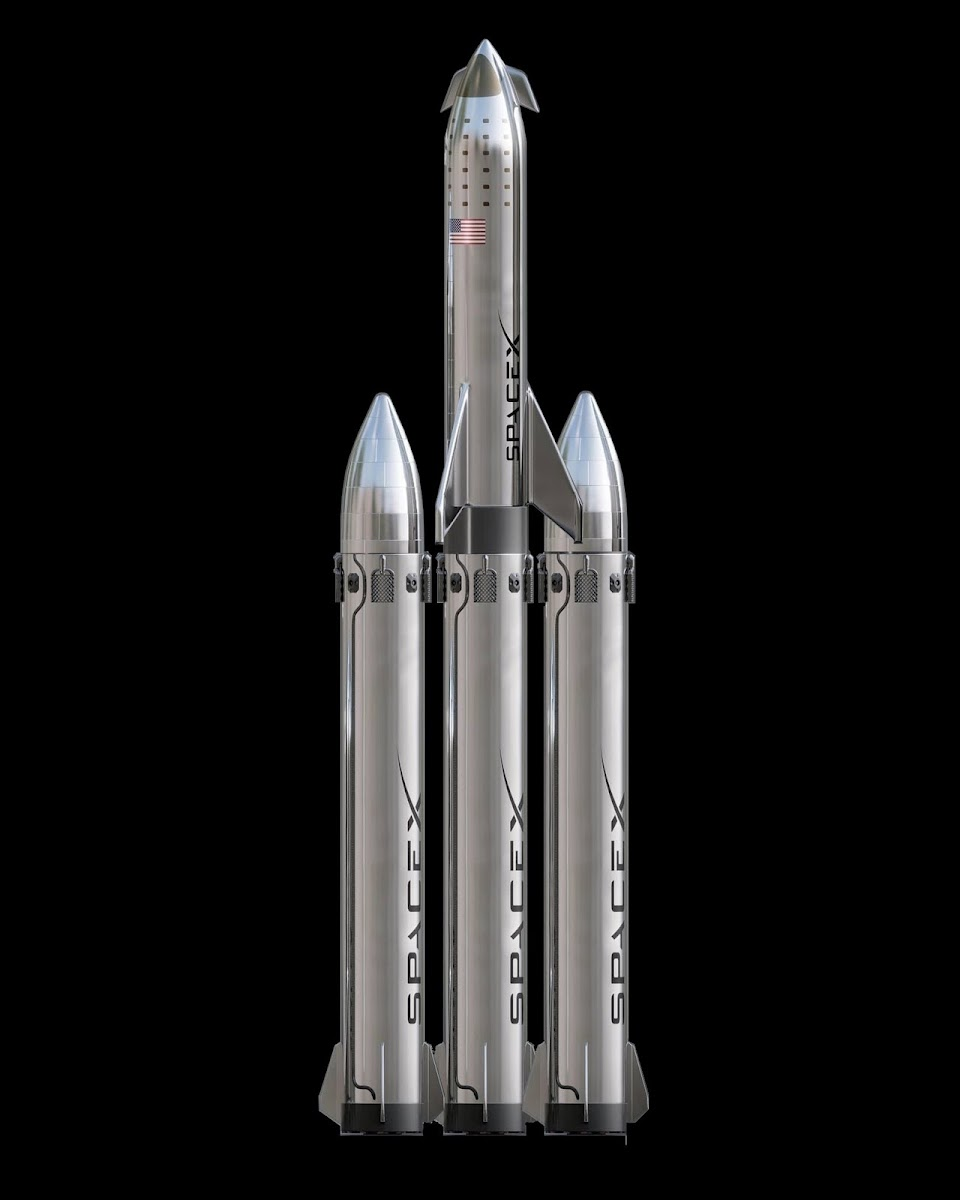 SpaceX Super Heavy Starship version with additional two side boosters