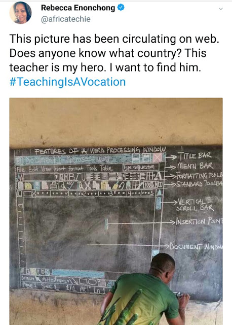 Remember the diligent Ghanaian teacher who drew MS Word software on blackboard for his student? Microsoft is set to equip him with resources!