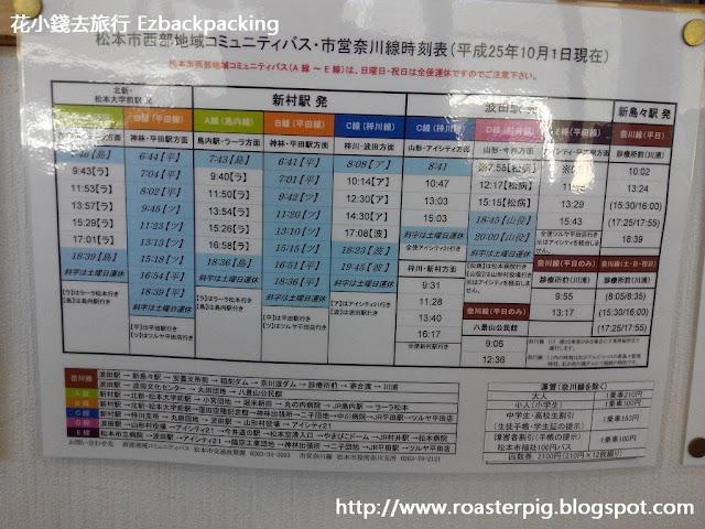 新島島巴士總站~松本巿巴士時間表