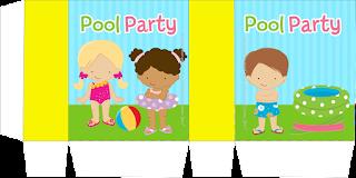 Cajas de Fiesta de Nenas en las Piscina para imprimir gratis.
