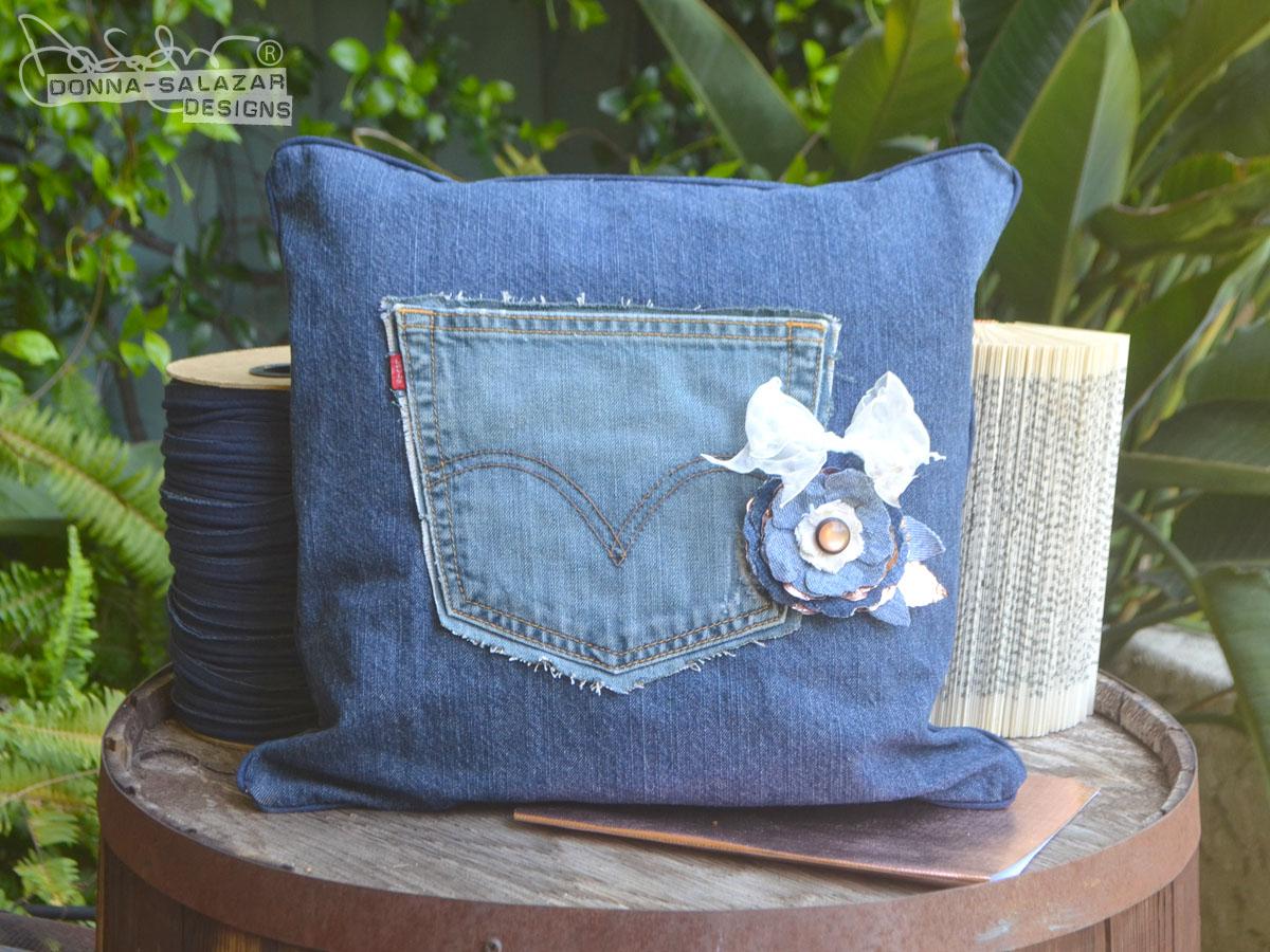 Donna Salazar Designs: Denim Pocket Pillow by Donna Salazar