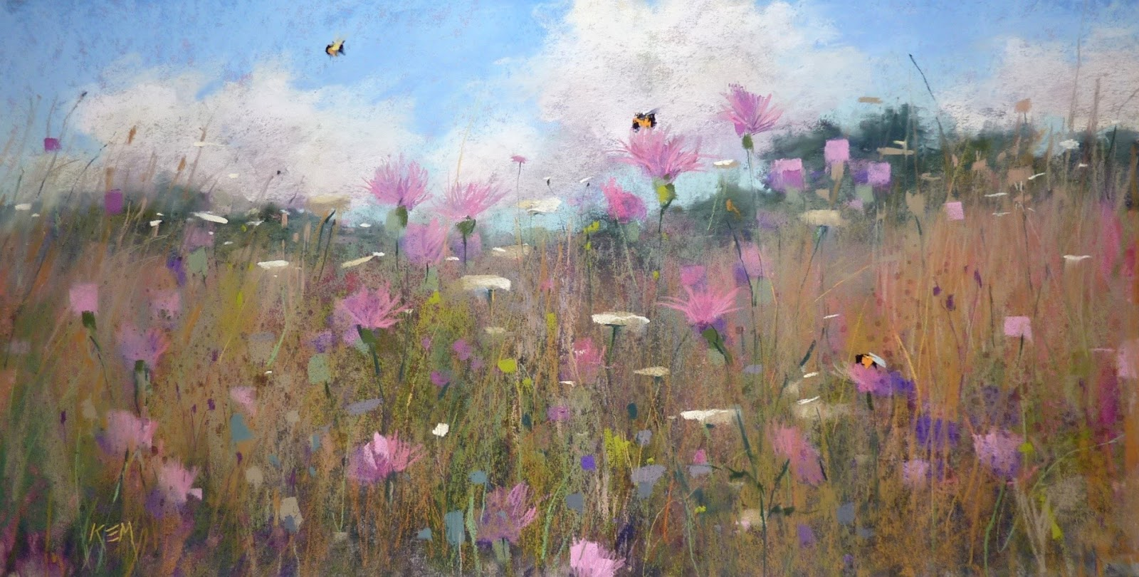 Dessin et peinture , vidéo 2176  Peindre un champ de fleurs sauvages aux  craies de pastel.