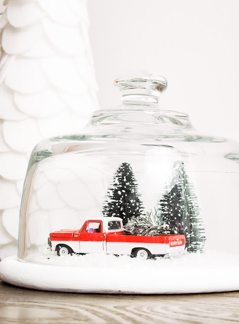Goodwill cloche turned winter snow globe