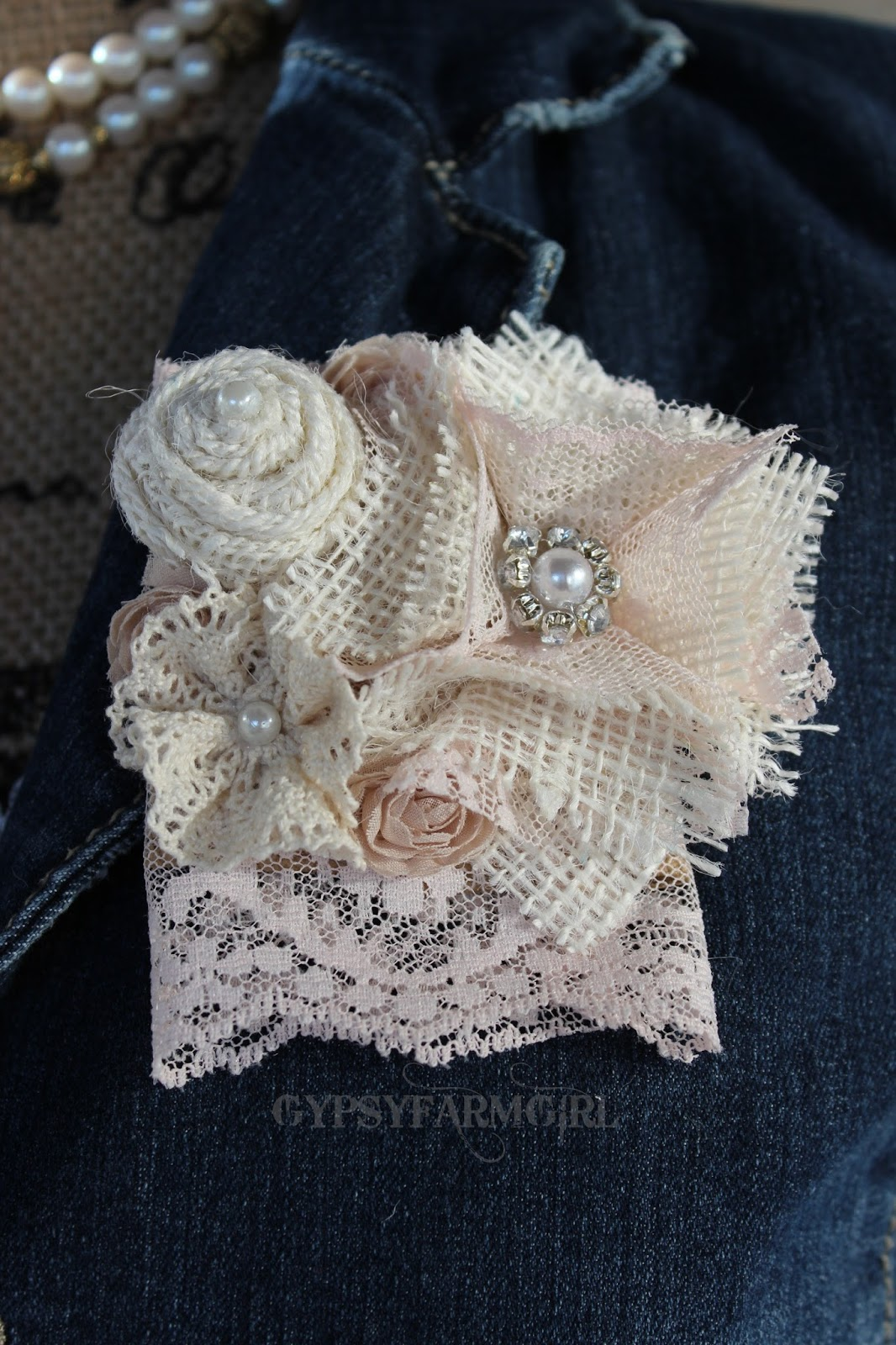 Burlap and Lace Corsage