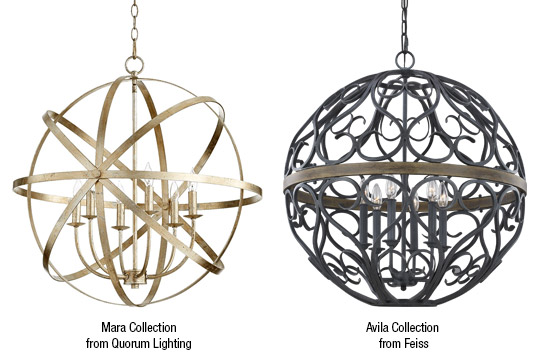 Sphere shaped lighting like the Mara Collection from Quorum Lighting