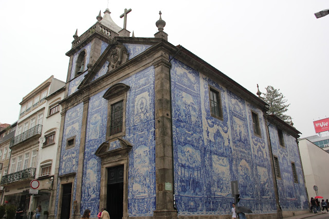 blue and white tile church porto