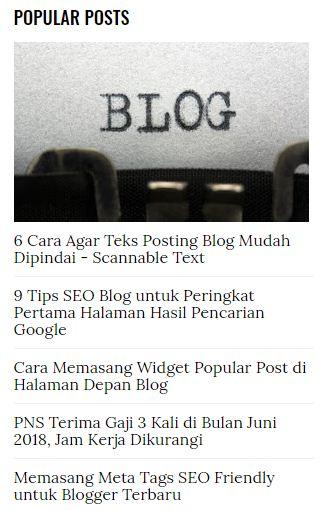 Widget Popular Post Keren untuk Blogger