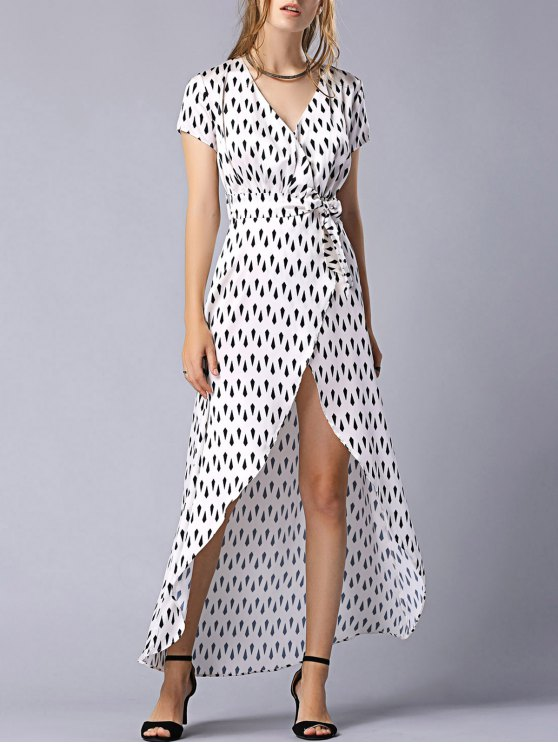 Print Tie-Side V Neck Short Sleeve Maxi Dress