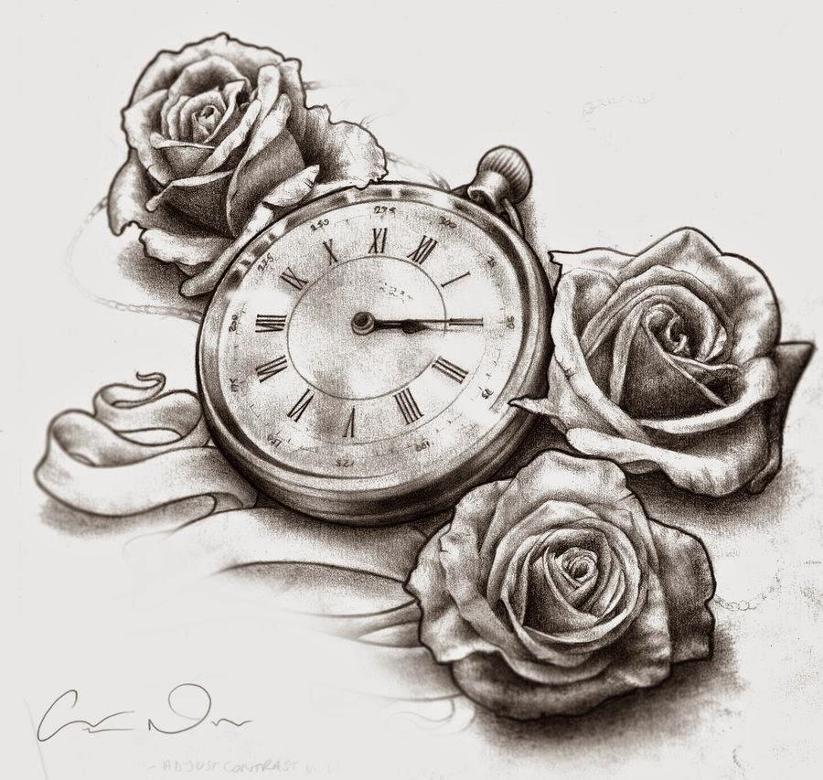 Tattoo Design Clock And Roses Tattoo Design Sketch
