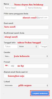 Formulir Pendaftaran Akun Gmail